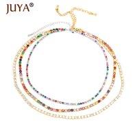 Juya Trendy Regenbogen Farbe Halsketten Zeichierbare Zirkonia Choker Für Frauen Mädchen Schmuckböhmische Tenniskette für Liebhaber Geschenk