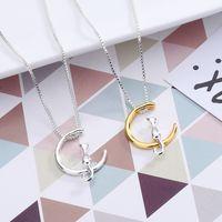 Ожерелье Cat Ожерелье Шарм Серебро Золото Цвет Pet Лаки ювелирные изделия Роскошные ювелирные изделия Подарок Луны Подвеска