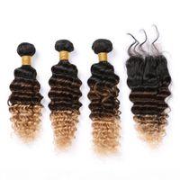 # 1b 4 27 Оммре человеческие пакеты волос с кружевным закрытием Черный коричневый до медового блондинка 3tone Ombre Malaysian Deep Wave