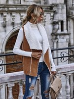 Mulheres Winter Vest camurça de lã quente Turn-Down Jacket Collar mangas Magro lapela Tops Brasão Casacos Colete CS2326