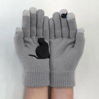 Cinque Guanti dita 1 paio inverno inverno caldo cachemire freddo spesso cartone animato gatto stampa la lana a maglia full dato uomini e donne guanti f10