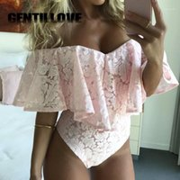 Summer Sexy Off the Shoulder Women Bodysuit Ruffle Lace Jump...
