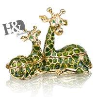 HD Handmade sentado girafa mãe com bebê jeweled caixa de trinket decorativo metal anel titular presente de presente decoração 20112