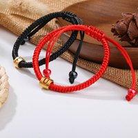 Cuerda hecha a mano pulsera trenzada roja cuerda negro tibetano amor budista afortunado mexicano amistad carta encanto pulseras para mujeres hombres