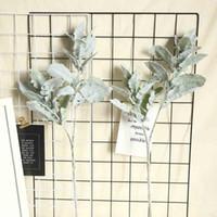 Flores artificiais Alta qualidade flocada folha de prata crisântemum seda cordeiros orelha folha hortaliças para casa decoração casamento
