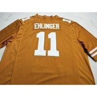121 Lady and Youth Texas Longhorns Sam Ehlinger # 11 Bianco Arancione Real Completo Ricamo Jersey Dimensione S-4XL o personalizzato Qualsiasi nome o Numero Jersey