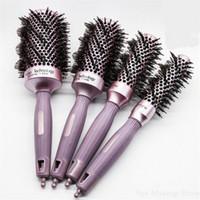 Nueva Ronda 4 Tamaños peine del pelo de cerámica del cepillo cerdas de jabalí peluquería Cepillo térmico para rizar el cabello barril peine mayor 30 #