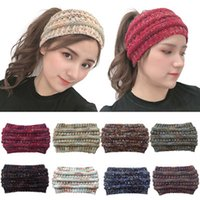 Women Knitted Crochet Headband Autumn Winter Outdoor Sports Head Wrap Hairband Fascinator Hat Head Dress Headpieces IIA686