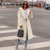 Ltph 2020 inverno nuovo arrivo moda casual semplice semplice colore solido cappotto di pelliccia donne spesse agnello agnello manica lunga cachemire giacca1