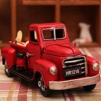 Vintage Metal Pikap Kırmızı Kamyon Noel Dekor El işi Araç Modeli Çocuk Hediye Araba Oyuncak Ev Figürinleri Minyatürler Dekorasyon
