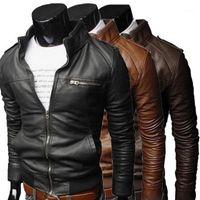 Uomini Cool Bomber Giacche Uomo Giacca Uomo Collo Inverno Slim Fit Moto Giacca in pelle Cappotto Outwear Streetwear1