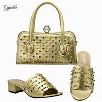 Chaussures habillées Incroyable or avec sac à main Set Dernières pantoufles et sacs pour Lady 111-1 Hauteur de talon 4.5cm