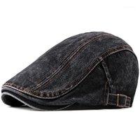 베레렛 스타일 남성용 카우보이 모자 야외 패션 씻어 데님 여름 단색 색상 도매 1을위한 야구 모자 조정 가능한 야구 모자