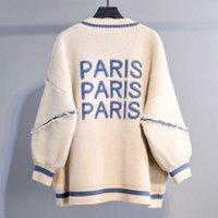 En vrac Mode Lettre longue Cardigan Imprimé Femmes Cardigan en maille Thicken Plus Size coréen alphabet anglais Sweater Coat 201016
