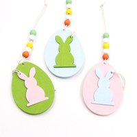 Pascua de madera colgante colgante DIY Color sólido Huevo Conejito en forma de ornamento Colgante Feliz Pascua Decoración del hogar 6pcs / bolsa