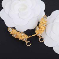 New Arrival Top Quality Drop Clip Earring Z Diamentowym Kształtem Diamentowym I Liściem Dla Kobiet Wedding Jewelry Prezent z pudełkiem Darmowa Wysyłka PS3586