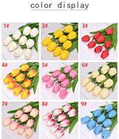 50 adet Lateks Laleler Yapay PU Çiçek Buketi Gerçek Dokunmatik Çiçekler Ev Dekorasyon için Düğün Dekoratif Çiçekler 32 Renkler Seçeneği FY242