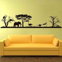 Safari الأفريقي جدار صائق الغابات خيال الفينيل ملصقات ديكور المنزل الحيوان جدار الفينيل الحضانة ديكور الغابة سفاري أفريقيا 3119 20120