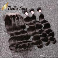 بيلا hair® حزم البرازيلية مع إغلاق 8-30 مزدوجة لحمة الشعر البشري الشعر ينسج الجسم موجة موجة متموجة julienchina