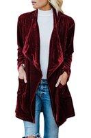 Nature unique Nature Femme Solide manche Ventille Velvet Verte Open Front Cardigan Manteau avec poches en vrac Vêtements d'extérieur X1214