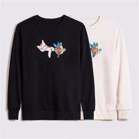 Винтажные мужчины толстовка мужские женские осень зима мода с длинным рукавом толстовки толстовки 20ss уютный пуловер кошка цветы пот рубашка