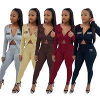 Femmes Sports Tracksuits Two Piece Set Couleur Solid Sportwear New Rib Cardigan Cardigan Crayon Pantalon Pantalon Lettre Tenue de broderie 115