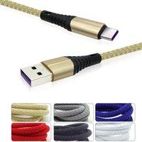 3A Velocidade rápida Carregamento Micro USB Cabo 1M 3FT Tecido Trançado Nylon Tipo C Cabos USB