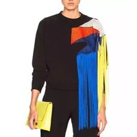 TVVVVVIN осень зимняя уличная одежда Новая Европа радуга кисточка лоскутная сетка плюс толстые женские толстовки топливы A479 201207