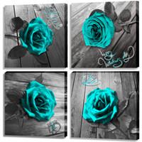 Tela di canapa di arte della parete Teal Blue Rose Canvas Prints Bianco e Nero Turchese floreale opere d'arte moderna Fiore Frame Immagini su tela della decorazione della parete