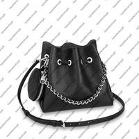 M57201 حقيبة المرأة الفضة دلو حقيقي crossbody العجل جولة الجلود عملة محفظة حقيبة الكتف مثقبة سلسلة ماه لين حقيبة rkfrw