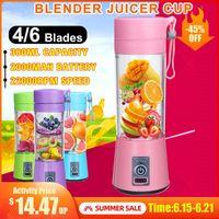 Portable Fruit Juicer 380ml 6 lames PORTABLES PORTABLES ÉLECTRIQUE HOME USB Rechargeable Smoothie Fabricant Mélangeurs Machine Sports Bouteille Jush Caisse Cadeau