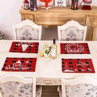 Dekor BH1698 TQQ Yemek Noel Süsleri Kardan adam Elk Tablecloth Noel Kırmızı Ekose Placemats Noel Masa Dekorasyon Ekose Placemat Ev