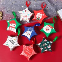 Christmas Gift Boxes Santa Claus Paper Boxes Case Stare Shape Candy Packing Box Hanging Rope Carry Bags Creative Christmas Decor EEC3373