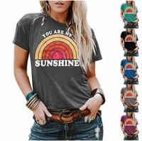Kadın Yaz Tshirt Tasarımcısı Sizim Sunshin Baskı Mektubu T Shirt Kısa Kollu Üst Ekip Boyun Gömlek Bayan Bluz Muhtasar Tarzı Giyim