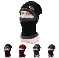 2-Pieces Beanie di inverno del cappello della sciarpa del per le donne e gli uomini caldi di vendita caldo Cappello di lana spessa foderato in pile cappello di inverno sciarpa Mens Calotta