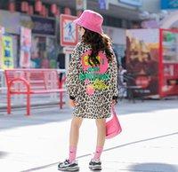 2021 novas crianças leopard sweatshirt crianças anti-desenhos animados letra impressa manga longa jumper moda meninas lapela casual long tops A5663