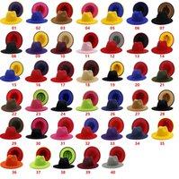 Renkli Patchwork Yün Keçe Caz Fedora Şapka Kadın Erkek Unisex Şık büyük Brim Panama Parti Kovboy Cap Düğün Şapka KKA8284