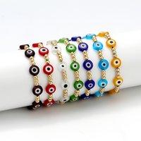 터키 악마 눈 팔찌 여성 여름 Pulseras Mujer Moda Bracelets 쥬얼리 여러 가지 빛깔의 쌓아 밧줄 조정 가능한 수제