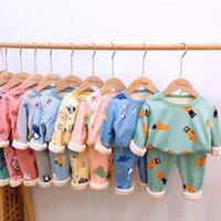 Осень зима сгущает бархатные дети пижамы мультфильм семья мальчики девушки одежда набор детей вскользь спящая одежда одежда 201104