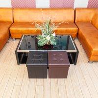 Soggiorno Mobili per stoccaggio quadrato di stoccaggio quadrato e pratico PVC Pelle in PVC Brown Durevole Poggiapiedi