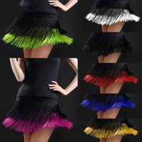Stage Wear Lady Adult Latin Dance Skirt Double Tassel Fringed Competition Samba Tango For Dancing Practice Performance