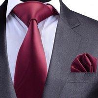 Hals Ties Gusleson Solid Formal Tie Waterdichte Stropdas Pocket Square Set Business Wedding Classic Men's Silk 8cm Corbatas Fashion1