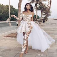 Ayrılabilir Tren Ile Seksi Tulum Gelinlik Uzun Kollu Aplike Fırfır Illusion Dantel Gelin Kıyafeti Custom Made Robes de Mariée