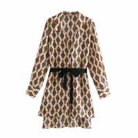 2020 Новые Женщины Печатные Блуза с длинными рукавами Contrast Velvet ремень Блуза Топы Элегантный женский Рубашки ZXQJ