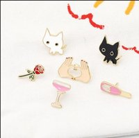 플라밍고 와인 병 컵 장미 꽃 심장 모양 만화 브로치 핀 칼라 가방 자켓 브로치 쥬얼리 PS0546