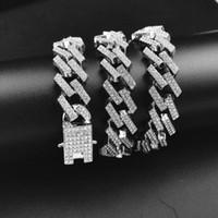 Di lusso di alta qualità 13mm hiphop densi diamante hip hop collana mens popolare geometrico rombo draghi barba fibbia cubana collegamento catena di link moda
