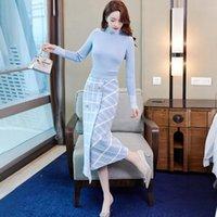 Тонкий свитер Два куска платье набор женщин осень зимняя водолазка вязаный топ + клетчатая юбка костюма офисная леди