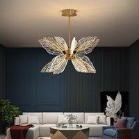 Modern Kelebek Salon LED Sarkıt Nordic Basit Yatak odası Mutfak Yaratıcı Altın Şeffaf Akrilik Kanat Avize