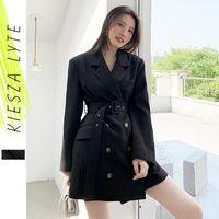 Women's Suits & Blazers For Women 2021 Autumn Winter Fashion Designer Office Lady Slim Black With Belt Jackets Formal Outerwear