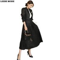 Vestido elegante primavera lã preta 2 peça saia e jaqueta curta conjunto mulheres festa negócio casual senhoras terno longo